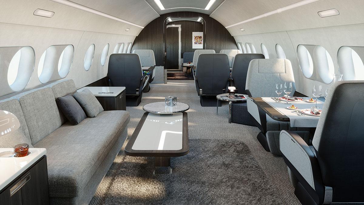 A ampla cabine do Airbus A220 configurado como avião executivo