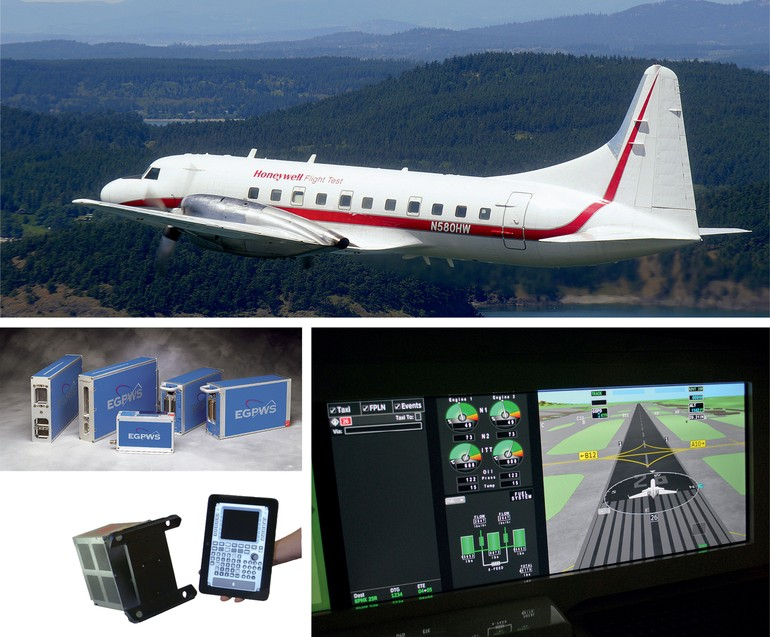 avião de testes Convair 580, visão sintética do táxi, protótipo de FMS touchscreen e módulos EGPWS