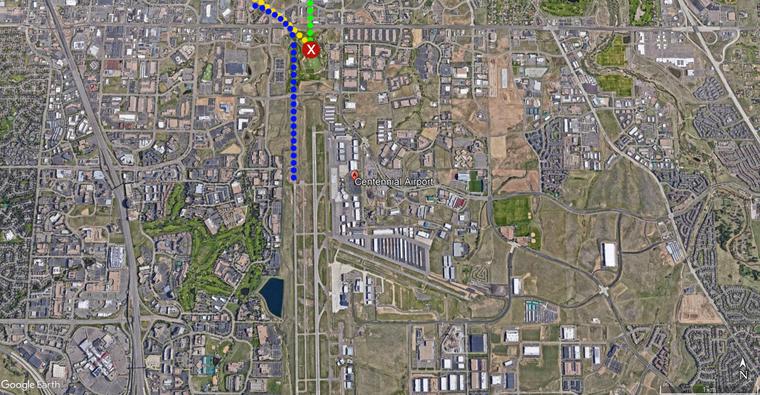 mapa do acidente entre aviões