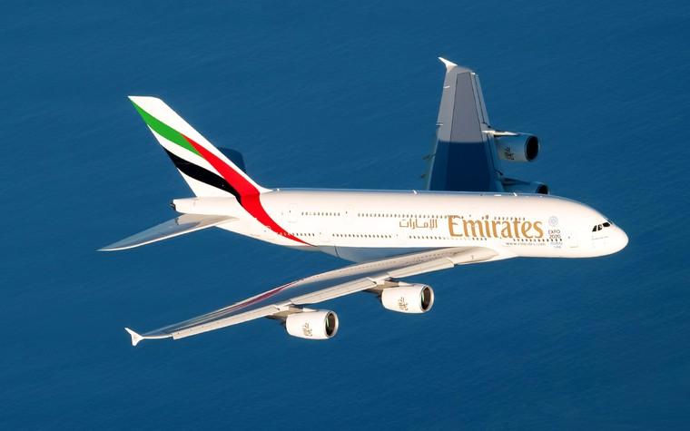 Airbus A380 da Emirates em voo