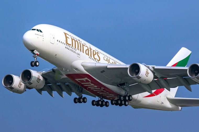 Airbus A380 da Emirates Airline em voo