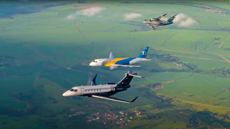 Praetor, E-Jet e KC-390 em voo em video especial da Embraer