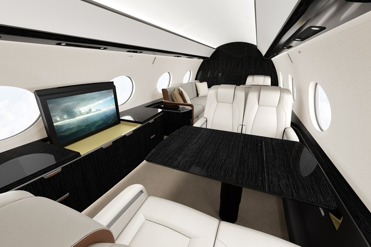 Interior do G800 da Gulfstream