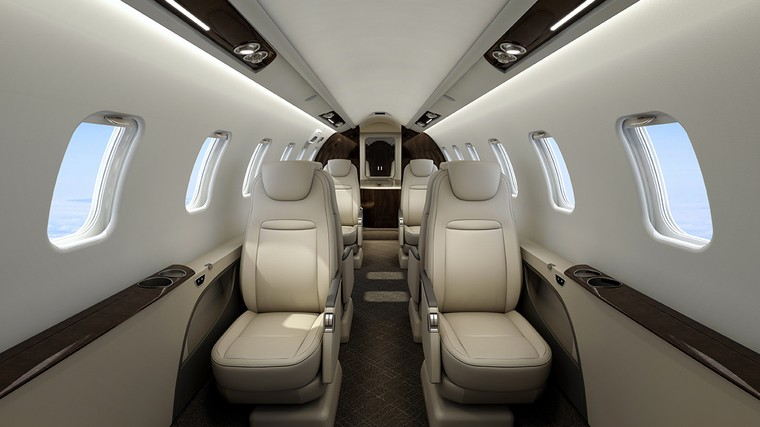 Interior do Learjet 75 Liberty