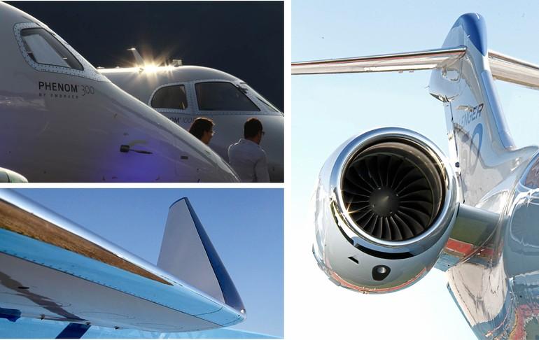 No sentido horário, família Phenom da Embraer, novo Bombarider Challenger 350 e winglet do Gulfstream  G650ER